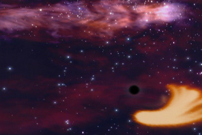 Artist impression of a black hole consuming a star.