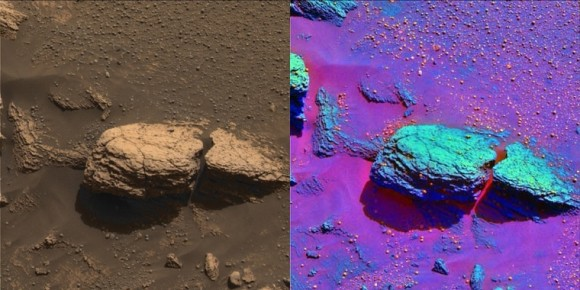 Stone mountain rock outcrop in true and false colour. Image credit: NASA/JPL