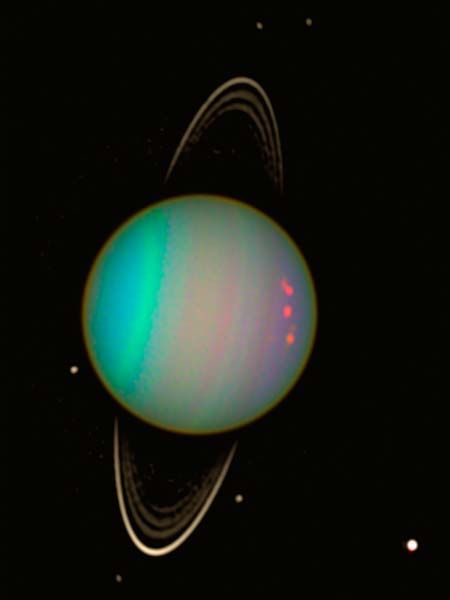 Uranus, the blue gas planet that rotates on its side. credit: NASA/Hubble Team