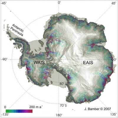 Satellite-derived image of the surface topography of Antarctica. Image Credit: Jonathan Bamber