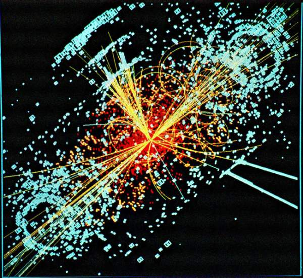 A simulation of a LHC collision (CERN)