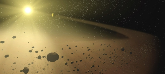 An artists impression of an asteroid belt(credit: NASA)
