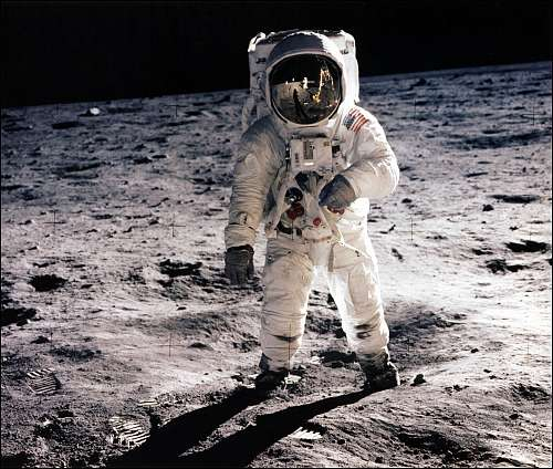 A NASA astronaut on the lunar surface (credit: NASA)