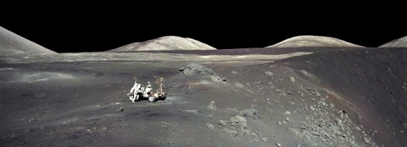 The Apollo 17 crew roving over the lunar landscape in 1972, the last manned mission to the Moon (Credit:NASA)