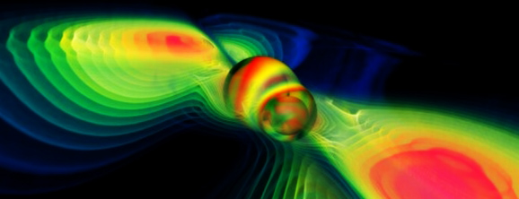 A colliding black hole generating gravitational waves. But what if a black hole hit Earth? (Credit: EU Training Network)