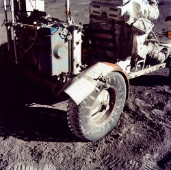 The fender on the Apollo 17 moon buggy was repaired with duct tape (NASA)
