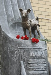 Laika statue outside a research facility in Moscow (AP Photo/RIA-Novosti, Alexei Nikolsky)