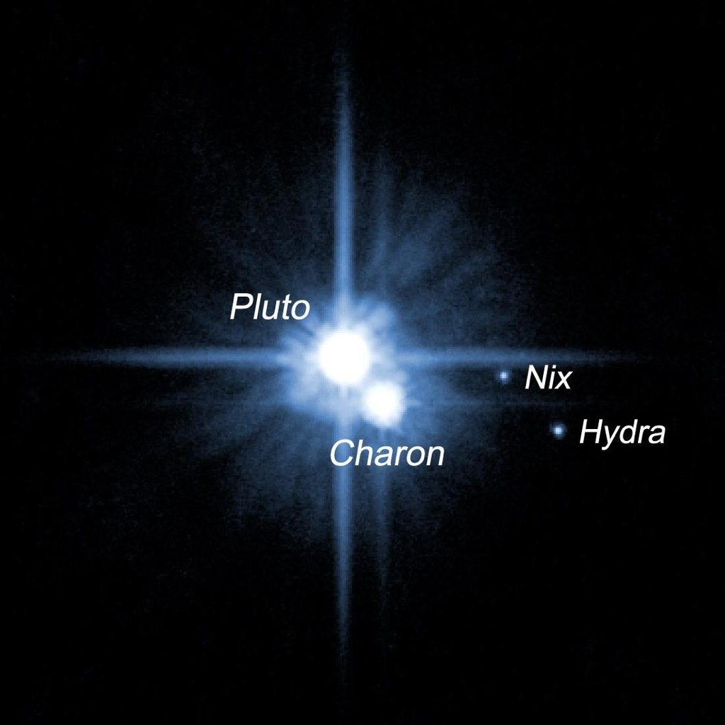 Pluto and its moons image credit hubble