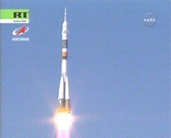 Soyuz TMA- 12 launch.  Image credit:  NASA TV 