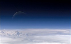 Moon seen through the atmosphere. Image credit: NASA
