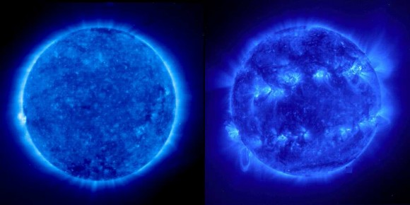 The Sun in EUV. A comparison between solar minimum (left) and maximum (right). Coronal loops are most active at solar max (SOHO/NASA)