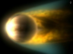 Venus Express observation of Venus, solar wind blowing atmospheric gases into space (ESA)