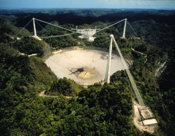 The Arecibo radio telescope in Puerto Rico.