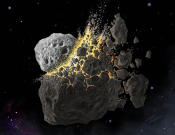A huge impact with the asteroid Vista created a lot of debris (Don Davis)
