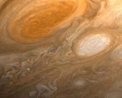 Jupiter\'s Red Spot, seen by Voyager 1. Image credit: NASA/JPL