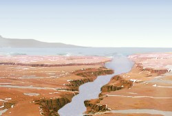 Artist illustration of an ancient ocean on Mars. Image credit: NASA