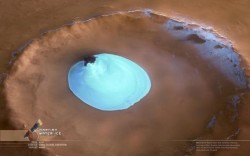 Mars crater with ice. Image credit: ESA