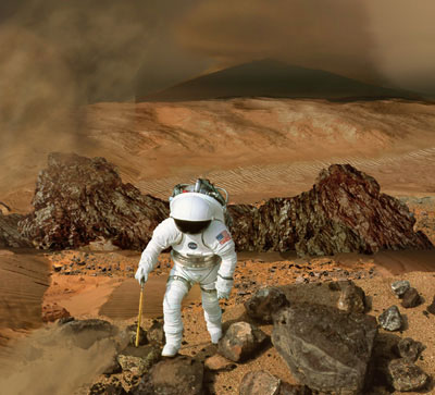 Artist impression of an astronaut on Mars (NASA)