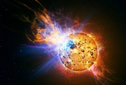Artist impression of a huge flare on red dwarf star EV Lacertae observed by the Swift observatory (NASA)