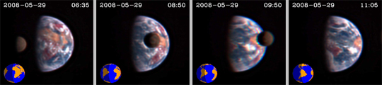 Series of images showing the Moon transiting Earth, captured by NASA\&#039;s EPOXI spacecraft.