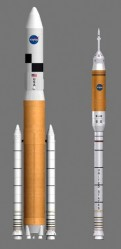 NASA&#039;s new Ares V &amp; Ares I Rockets.  Credit:  NASA