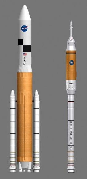 NASA\'s new Ares V & Ares I Rockets.  Credit:  NASA