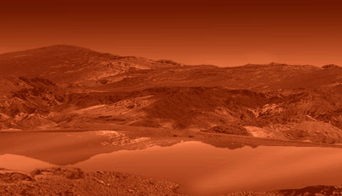 Artist\'s concept of the liquid lake on Titan.  Credit:  NASA/JPL