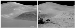 Comparison between 3D SELENE landscape and Apollo 15 photo (JAXA/NASA)