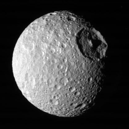 Saturn\&#039;s moon Mimas. Image credit: NASA/JPL/SSI