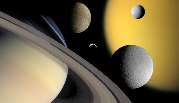 A collage of Saturn (bottom left) and some of its moons: Titan, Enceladus, Dione, Rhea and Helene. Credit: NASA/JPL/Space Science Institute