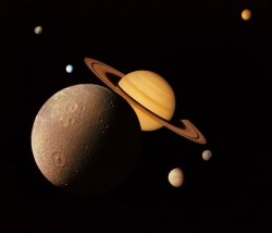 Saturn and its moons. Image credit: NASA/JPL/SSI