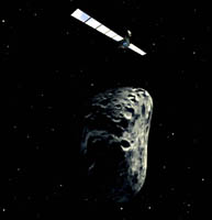 Artist's impression of Rosetta doing an asteroid flyby (ESA).