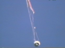 Only one main parachute remained as the PTV tumbled through the sky (NASA)