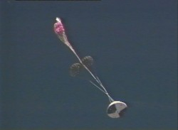 Flapping in the turbulent wake; the programmer parachute fails to open (NASA)