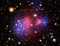 Bullet Cluster.  Credit:  NASA/CXC/CfA/STScI