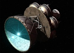 The Daedalus star ship, proposed in the 1970s, would propel itself forward using controlled fusion explosions (Nick Stevens, www.starbase1.co.uk)