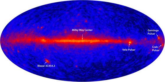First light image reveals bright emission in the plane of the Milky Way (center), bright pulsars and super-massive black holes. Credit: NASA/DOE/International LAT Team