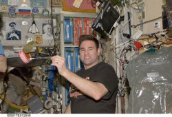 Astronaut Greg Chamitoff on board the ISS.  Credit:  NASA