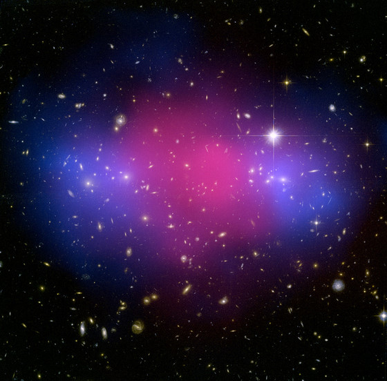 Credit: X-ray(NASA/CXC/Stanford/S.Allen); Optical/Lensing(NASA/STScI/UC Santa Barbara/M.Bradac)