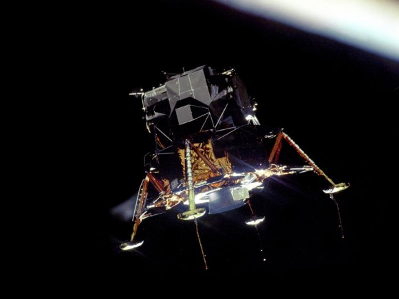 Apollo 11 Lunar Module on it way to the moon.  Credit:  NASA