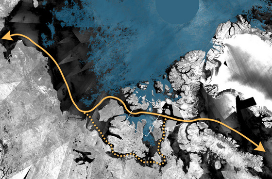 The arrow shows the Northwest Passage, which is virtually ice free.  Credit:  ESA