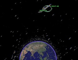 InSat-4, active communications satellites serving India. They&#039;re in geosynchronous orbit don&#039;t you know? (Google/Analytical Graphics)