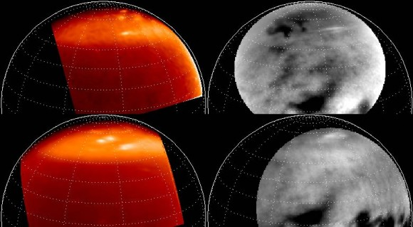 Map projected images of lake-effect clouds at the winter north pole of Titan from the VIMS (left, both from 27 April 2007) and ISS (right, from 24 Feb 2007, top, and 13 April 2007, bottom) imagers on board the Cassini spacecraft.