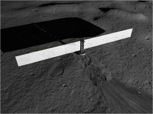 Artist concept of a fission surface power system on the surface of the moon.  Credit:  NASA