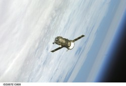 A previous Progress approach to the Space Station over Earth (NASA)