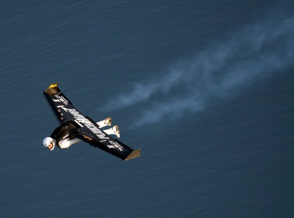 Fusionman soars across the English Channel.   Credit:  AFP/Getty