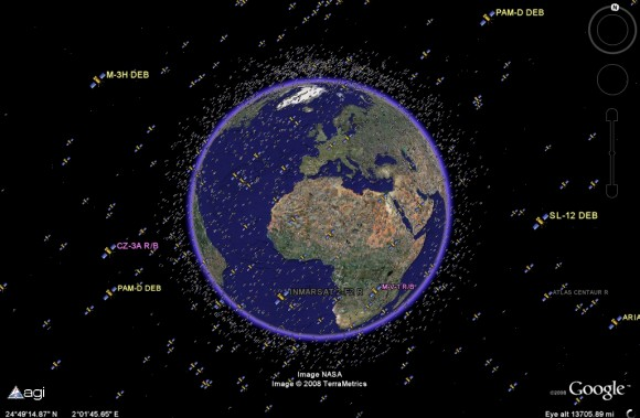 active and inactive satellites are tracked (Google/Analytical Graphics)