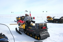 Snowmobiles, the vehicle of choice for Antarctic meteorite hunting. Photo credit: L. McFadden, 2007