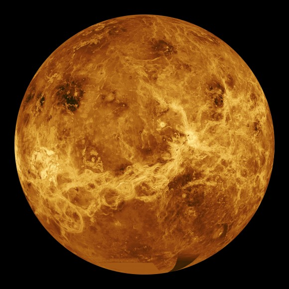 A radar view of Venus taken by the Magellan spacecraft, with some gaps f