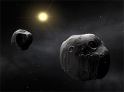 Artist impression of binary asteroid 90 Antiope (ESO)